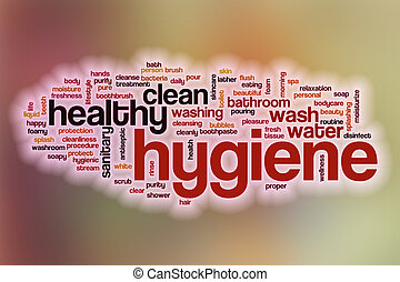 Hygiene word cloud with abstract background