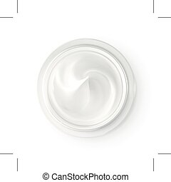 Hygienic cream, top view, isolated on white background