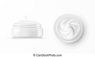 Hygienic Cream In Glass Jar. Top View