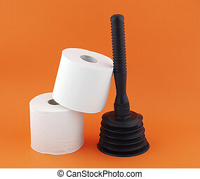 Hygienic items on a red background