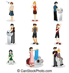 Hygienic people - A vector illustration of people practicing...