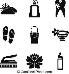Hygienic procedure icons set, simple style