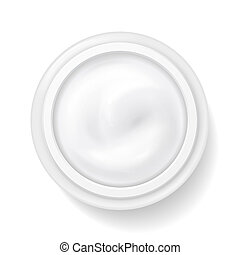 Hygienic white cream in package container, top view