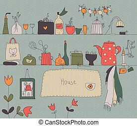 hylla, kök, tillbehör, bakgrund, årgång