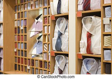 hylla, med, män, ha på sig, in, butik