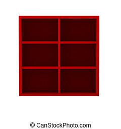 hylla, render, röd, 3