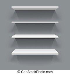 hyllor, vägg, grå, bakgrund., vit, 3
