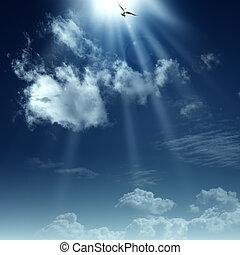 hymne, heaven., abstrakt, baggrunde, konstruktion, vej, din