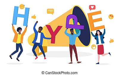 SMM, hype, social media viral or fake content spreading concept. tiny male and female characters with huge letters in hands and giant megaphone. Cartoon flat vector illustration