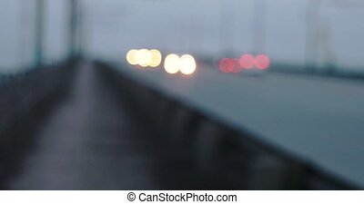 Hyper-lapse timelapse of traffic on overpass at nightfll
