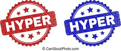 Rosette HYPER seal stamps. Flat vector grunge seal stamps with HYPER phrase inside rosette shape with stars, in blue and red color variants. Rubber imitations with corroded surface.