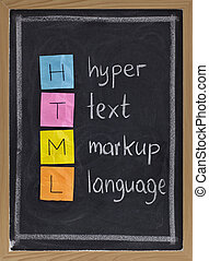 html (hyper text markup language) acronym explained on blackboard, color sticky notes and white chalk handwriting