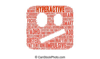 Hyperactive Word Cloud - Hyperactive ADHD word cloud on a...