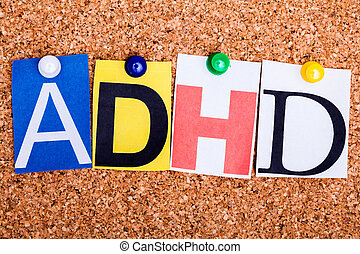 hyperactivity, attention, abréviation, déficit, adhd, ...