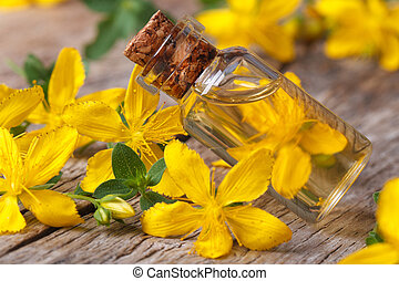 hypericum oil in a glass bottle macro horizontal