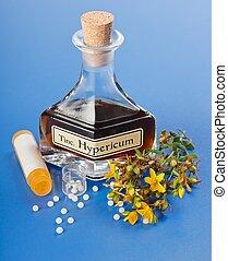 hypericum, växt, och, extrakt, och, homeopatisk, biljard