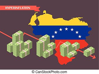 Hyperinflation in venezuela concept