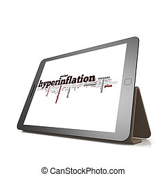 hyperinflation, woord, wolk, op, tablet