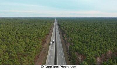Hyperlapse. Aerial View. Traffic on a Motorway, Germany -...