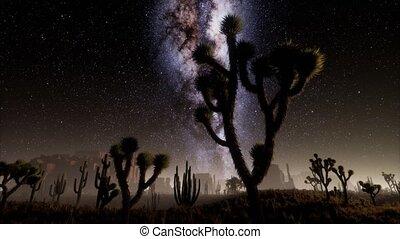 Hyperlapse in Death Valley National Park Desert Moonlit Under Galaxy Stars