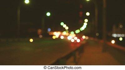 Hyperlapse Night Traffic on Overpass Blurred - Hyperlapse...
