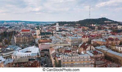 Hyperlapse of the historical center of Lviv, UNESCO's cultural heritage. Aerial view.
