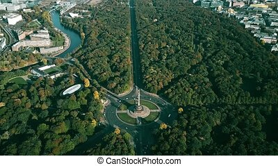Hyperlapse of the Tiergarten Park and the Victory Column...