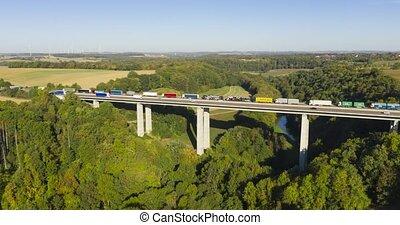 Hyperlapse, Traffic On Jagsttal Bridge, A6 Autobahn, Germany...
