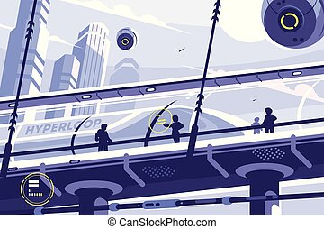 Hyperloop future public transport. Suspended tunnel for...
