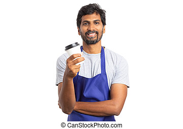 Hypermarket employee enjoying pause with coffee to go mug -...