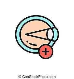 Hyperopia, eye disease, astigmatism flat color line icon. - ...