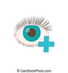 Hyperopia eyesight disorder icon, cartoon style