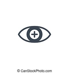 Hyperopia related vector glyph icon. Isolated on white ...