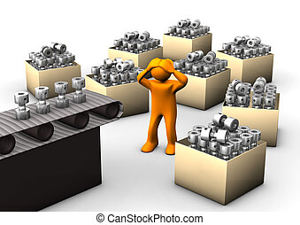 Hyperproduction - Orange cartoon with assembly line an boxes...