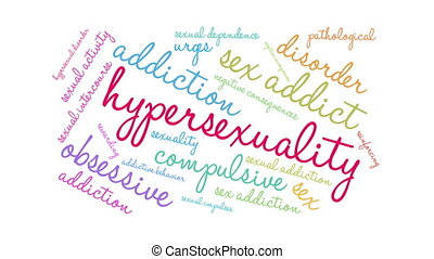 Hypersexuality word cloud on a white background.