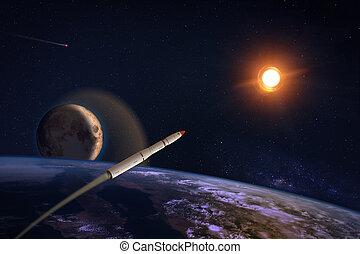 hypersonic, misil, encima, la tierra