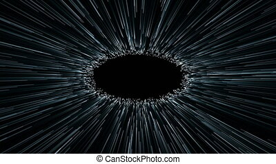 Hyperspace jump, scene of overcoming the temporary space