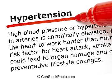hypertensie, underlined, met, rood, teken
