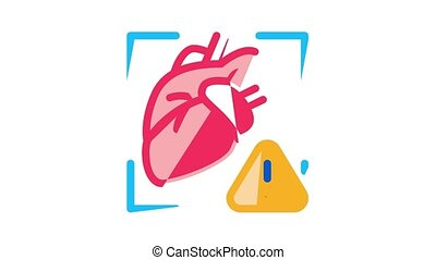 Hypertension Disease Icon Animation Hypertension Ill And Treatment, Heart Research And Examination, Fitness Bracelet And Watch
