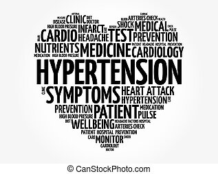 Hypertension heart word cloud, health concept background