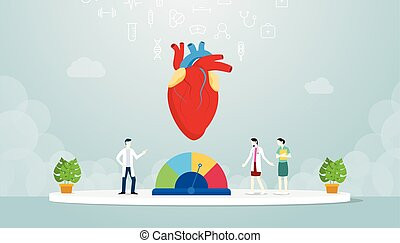 hypertension human heart with team doctor analyze disease with modern flat style - vector illustration