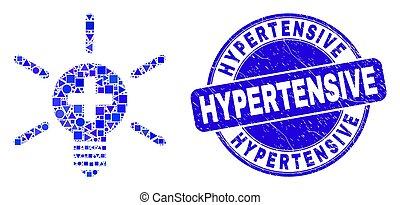 hypertensive, グランジ, 切手, 医学, 青, シール, ランプ, ライト, モザイク