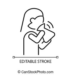 Hyperventilation linear icon. Panic attack symptom. Respiratory problem. Fast inhale and exhale. Thin line customizable illustration. Contour symbol. Vector isolated outline drawing. Editable stroke