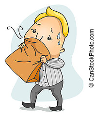 Hyperventilation - Man breathing in Paper Bag with Clipping...