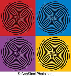 hypnose, ontwerp, spiraal, motieven