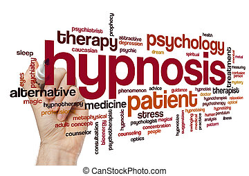 hypnose, wolke, wort