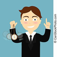 Hypnosis concept - Businessman hand holding a pocket watch...