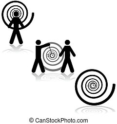 Hypnosis - Icon set showing a man being hypnotized, another...
