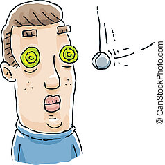 Hypnosis Eyes - A cartoon man's eyes spiral while he is...