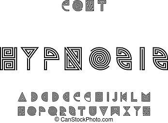 Hypnosis font. Vector alphabet letters. Typeface design.